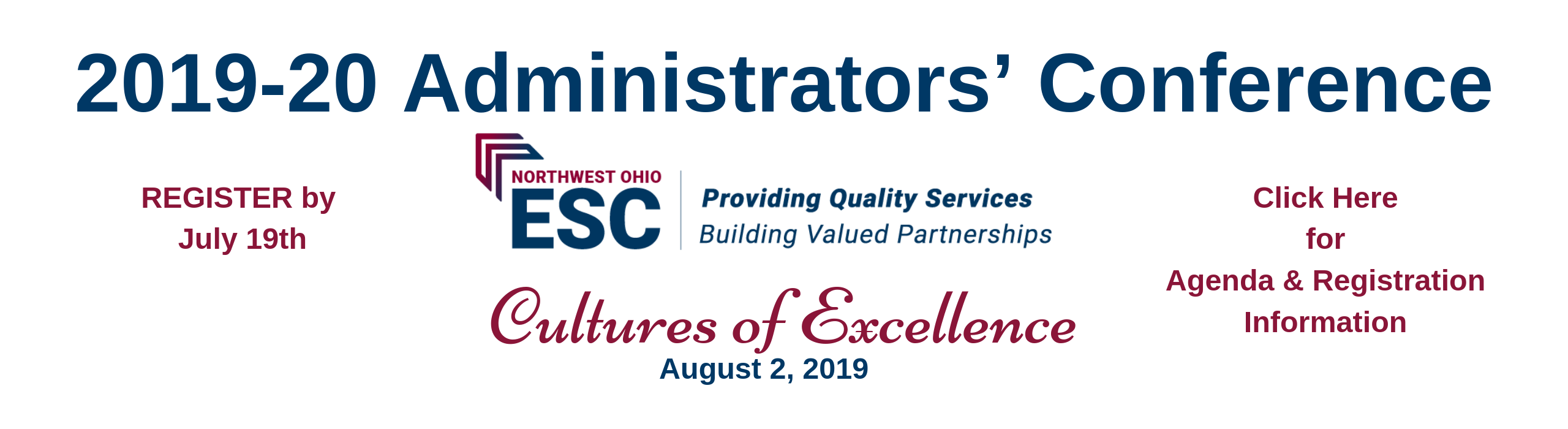 2019 Administrators' Conference banner - click for more info