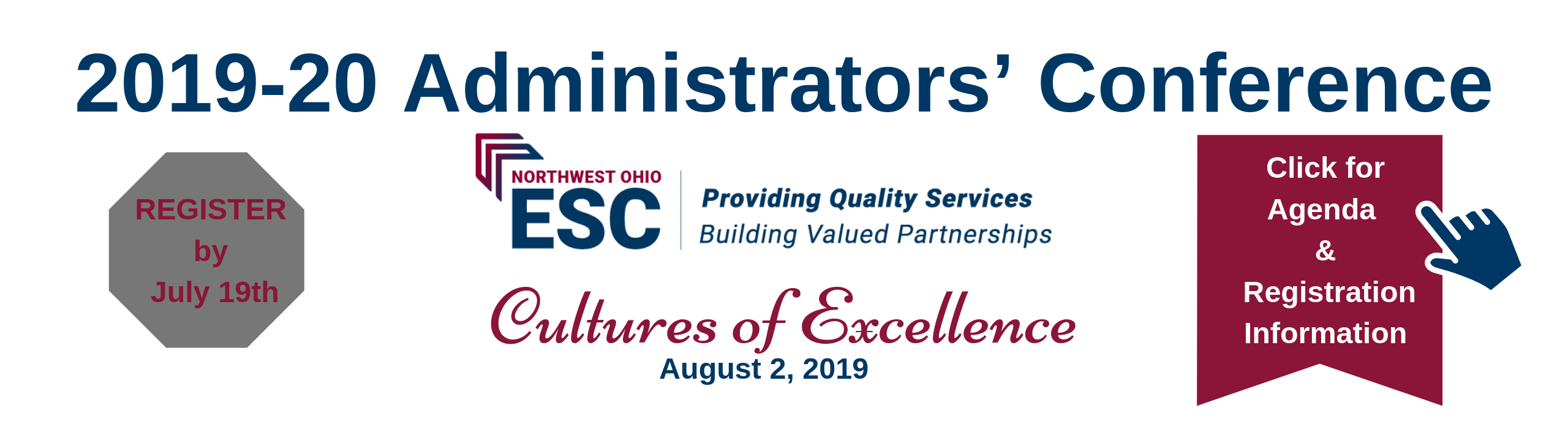 2019 Administrators Conference banner - click for more info